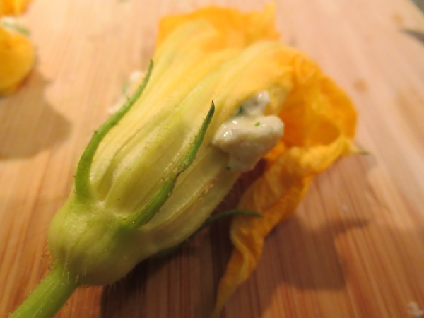 Summer Squash Blossom Stuffed with Ricotta and Herbs