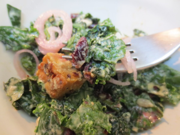 Yum, Kale Salad with Creamy Cashew Dressing and Crispy Tempeh Croutons