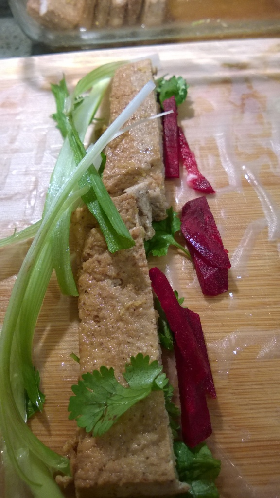 Summer Roll with Tofu Scallions Beets Cilantro