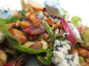 Wheat Berries & Sprouts Salad with Grapes & Almonds topped with Bleu Cheese
