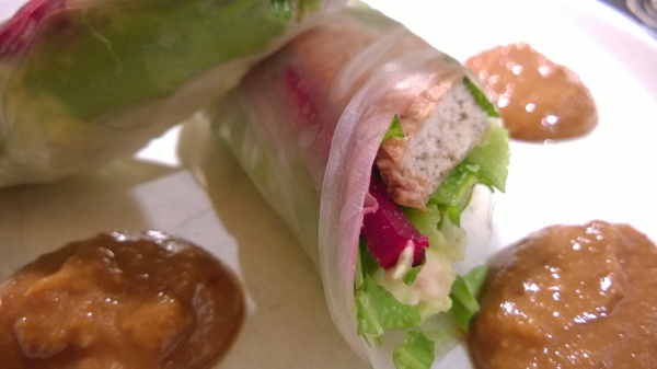 Tofu Summer Rolls with Beets and Greens