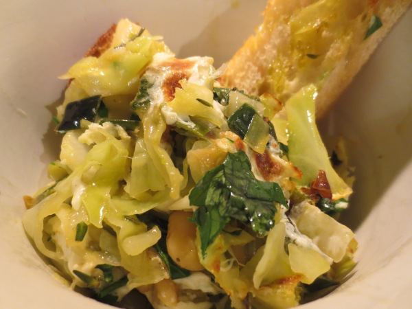 Cabbage and White Beans with Olive Oil Soaked Bread