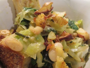 White Beans and Cabbage with leeks and crispy potatoes