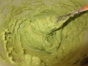 mashed avocado for double chocolate flourless brownies