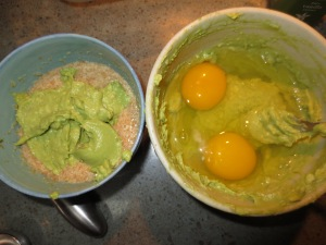 Side by Side flax eggs and avocado vs. real eggs and avocado