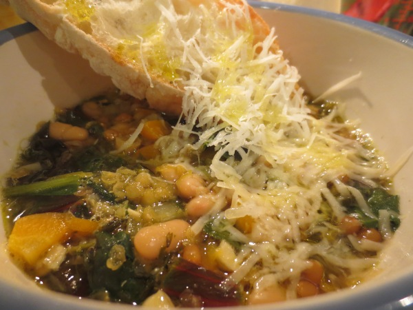 Beans and Greens Soup with red lentils, white beans, wheat berries and rainbow chard, yum!