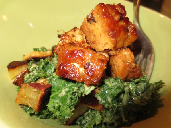 Maple Orange Glazed Tempeh with Kale Salad