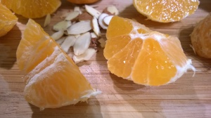 Orange segments and slivered almonds