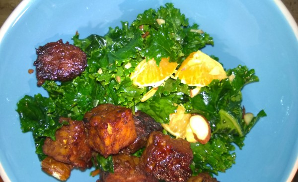 Super Simple Kale Salad with Maple Orange Tempeh