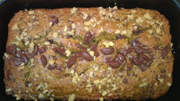 Banana Bread flecked with chocolate chunks and walnuts