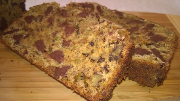 Slices of Heart Healthy Banana Bread with chocolate chunks and walnuts, yum!