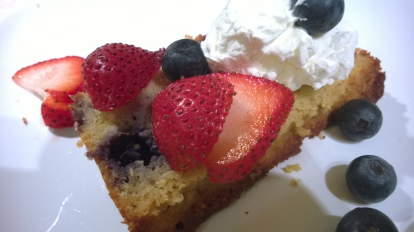 Blueberry Tea Cake with fresh berries and cream