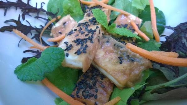 Tofu with Tahini Peanut Lime Sauce with salad