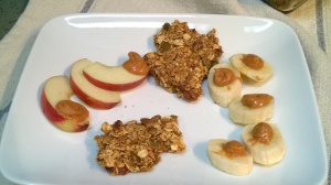 pumpkin pecan granola with apple and banana
