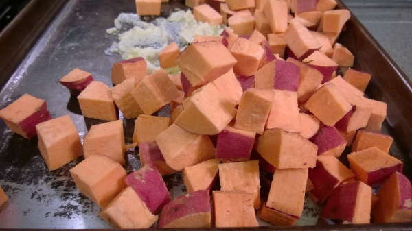 Diced sweet potatoes with ginger