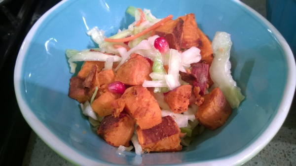 Ginger Spiced Roasted Sweet Potatoes with Cabbage and Pomegranate Slaw
