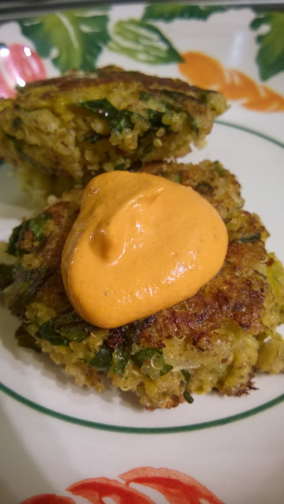 Quinoa Fritters with Roasted Pepper Cashew Cream
