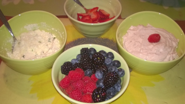 Savory ricotta and herb filling, fresh berries and raspberry whipped cream