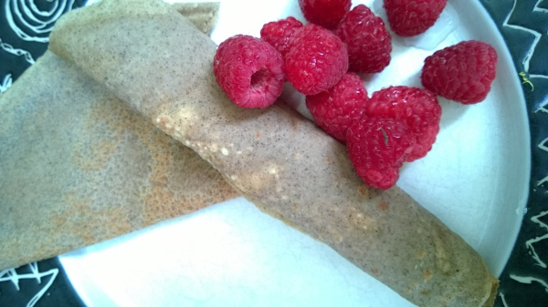 Crepes with fresh raspberries