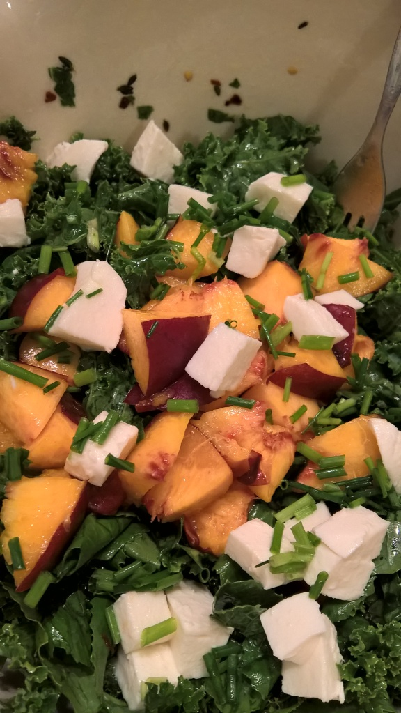 Summer Kale Salad with nectarines and fresh mozzarella