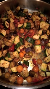 sauteed eggplant, zucchini, peppers and tomatoes