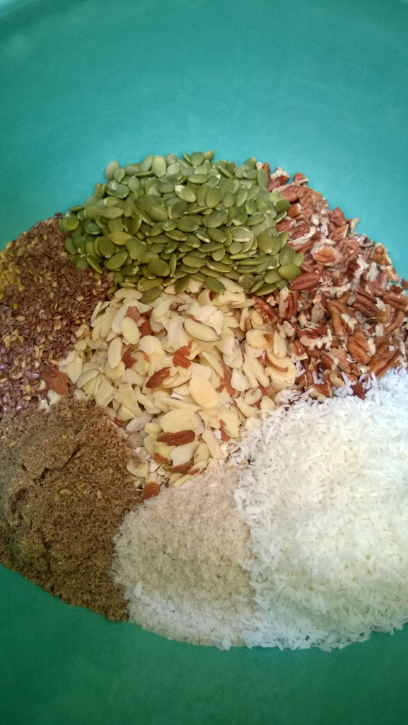 Nuts, seeds, psyllium and coconut